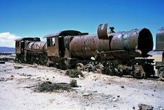 Ghost Trains in Bolivia,Bolivia. Gohst Train near  Salar de Uyuni at Eduardo Avaroa National Reserve,Bolivia Stock Photo