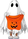 Ghost trick or treating. Child in ghost costume trick or treating royalty free illustration
