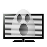 Ghost on TV screen. Ghost emerges through television screen Royalty Free Stock Photography
