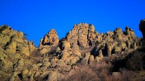 Ghost valley landscape and Demirji mountain Crimea Stock Photo