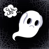 Ghost vector background (Shh!) with a spider's web Stock Images