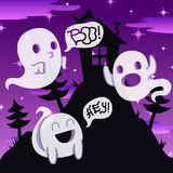 Ghost vector night background with house on the hill and trees Stock Image