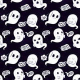 Ghost vector seamless pattern on dark violet background Royalty Free Stock Photo