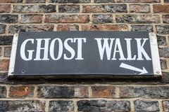 Ghost Walk Sign. A sign for a Ghost Walk in the historic and haunted city of York in England Stock Photos
