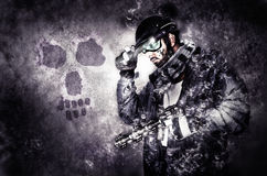 Ghost warrior soldier with muffler and gun Royalty Free Stock Images