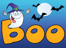 Ghost wearing a witch hat In the word boo. With bats on blue Royalty Free Stock Photo