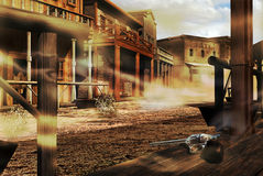 Ghost western town vector illustration