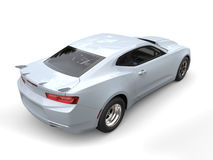 Ghost white modern muscle car - rear side view Royalty Free Stock Photo