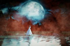 Ghost woman in white dress in Creepy forest. 3d illustration Royalty Free Stock Photos