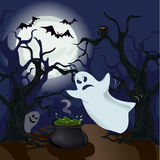 Ghost in the woods. Halloween. Vector illustration Stock Photography