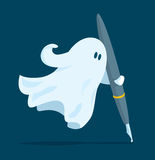 Ghost writer holding a pen. Cartoon illustration of floating ghost writer holding a pen Royalty Free Stock Photo