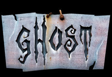 Ghost written on a sign Stock Image