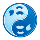 Ghost Yin Yang. Chinese Yin Yang symbol made from two spooky ghosts in contrasting shades of blue vector illustration