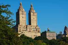 Ghostbusters Building from Central Park. Ghostbusters Building seen from Central Park royalty free stock photos