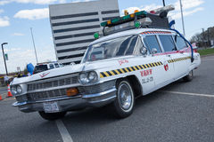 Ghostbusters Car. APRIL 26, 2015 - Woodbridge, NJ: A replica of the Ghostbusters Cadillac on display at the Cars of the Hollywood Screen car show royalty free stock photos