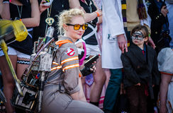 Ghostbusters cosplay at Sci-Fi Scarborough. Scarborough, UK - April 08, 2017: Female cosplayer dressed as `Jillian Holtzmann` from the 2016 version of ` royalty free stock photography