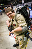Ghostbusters cosplay. Sheffield, UK - June 12, 2016: Cosplayer dressed as a character from the film `Ghostbusters` at the Yorkshire Cosplay Convention at stock photos