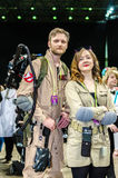 Ghostbusters cosplay. Sheffield, Uk - June 03, 2017: Cosplayers dressed as characters from Ghostbusters at the Yorkshire Cosplay Con in Sheffield royalty free stock image