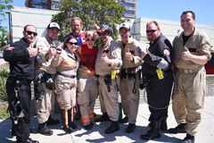 Ghostbusters of Detroit March in Parade. Detroit Ghostbusters gather for group photo in Royal Oak, MI stock image