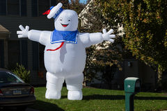Ghostbusters Stay Puft Marshmallow Man Decoration. Lancaster, PA - October 28, 2016: A large blowup Halloween yard decoration of the Ghostbusters Stay Puft stock image