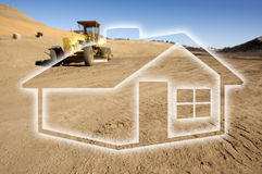Ghosted House Outline Above Construction Site and Tractor. Ghosted House Outline Above Dirt Construction Site and Tractor Royalty Free Stock Photo