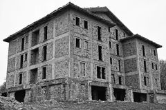 Ghostly abandoned building. Ghostly and spectral abandoned building in black and white vector illustration