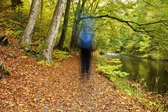 Ghostly blur on forest path. Along river banks in fall Stock Photos