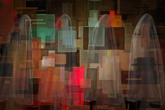 Ghostly figures geometric art. Ghostly figures and geometric art Stock Photography