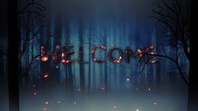 Ghostly Forest Welcome Reveal 4K Loop. Features a scary forest silhouette with a smoking skull flying through the scene leaving behind the word welcome, which stock footage