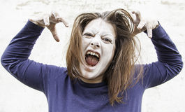 Ghostly girl screams Stock Images