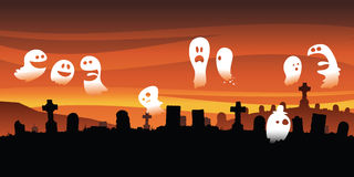 Ghostly Graveyard. A group of cartoon ghosts gather and socialize in a spooky graveyard Royalty Free Stock Photos
