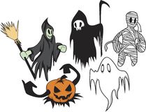 Ghostly Halloween. Character illustrations on some ghostly  figures based on the Halloween theme Stock Image
