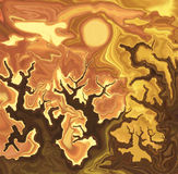 Ghostly oaks at the sunset. Ghostly landscape with bare crooked oaks at the sunset Stock Photos