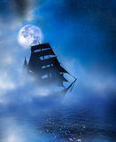 Ghostly ship. A ghostly image of a tall ship passing through mists and fog under a full moon on dark calm seas.  Starry background Stock Image