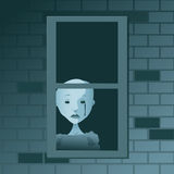 Ghostly Tear. A ghostly, cartoon figure shed a dark tear at a window Stock Photography