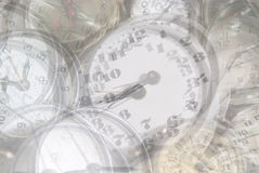 Ghostly time background. Phantom clocks Stock Photo