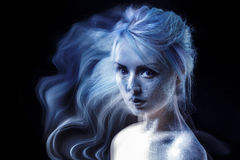 Ghostly woman, soul. Portrait of a movement effect Stock Images