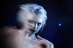 Ghostly woman, soul. Portrait of a movement effect Royalty Free Stock Photos