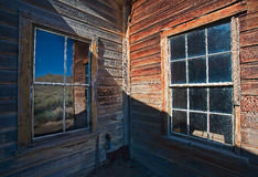 Ghostown Bodie Windows Royaltyfri Fotografi