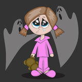 Ghosts. A little cartoon girl is crying r in darkness Royalty Free Stock Images