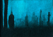 Ghosts. Mysterious silhouettes. Color pastels on black textured paper Stock Photography