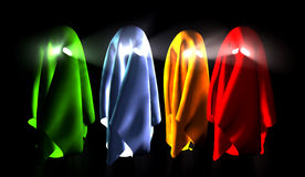 Ghosts. Colorful 3d ghosts  isolated on black background Royalty Free Stock Images