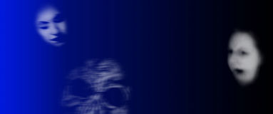 Ghosts banner. Banner showing ghost faces useful for halloween stock illustration