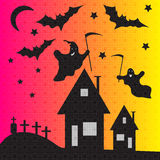 Ghosts and bats on cemetery vector illustration Royalty Free Stock Images