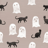 Ghosts and black cats for Halloween night celebration. Seamless pattern on cardboard background Stock Photography