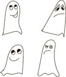 Ghosts, black-and-white, drawing, emotions: confusion, daydreaming, deceit, gloom, doubt, distrust, shyness, Halloween. Ghosts expressing different emotions Stock Image