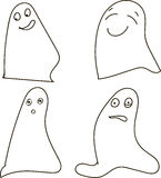 Ghosts, black-and-white, drawing, emotions: joy, happiness, surprise, shock, Halloween, Halloween Royalty Free Stock Photography