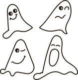 Ghosts, black-and-white, drawing, emotions: nfunny, smile, surprised, scared, winks, yawns, Halloween Stock Photography