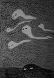 Ghosts. A few ghosts flying at night Stock Images