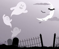Ghosts flying through graveyard Royalty Free Stock Images